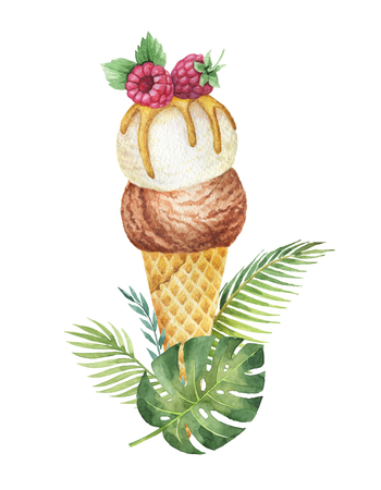 Watercolor tropical leaves and waffle cone with chocolate and vanilla ice cream decorated with raspberries.