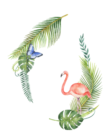 beak: Watercolor bouquet of tropical leaves and the pink Flamingo isolated on white background. Stock Photo