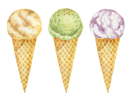 freeze: Watercolor ice cream cones with pistachio, vanilla and fruit.