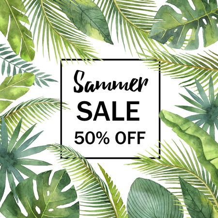 Watercolor sale banner tropical leaves and branches isolated on white background.