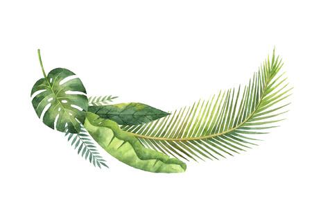 Waterverfkrans tropische bladeren en takken geïsoleerd op een witte achtergrond.