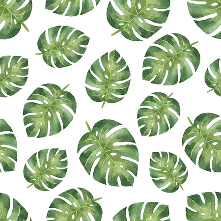 Watercolor seamless pattern with tropical leaves isolated on white background. Stock Photo