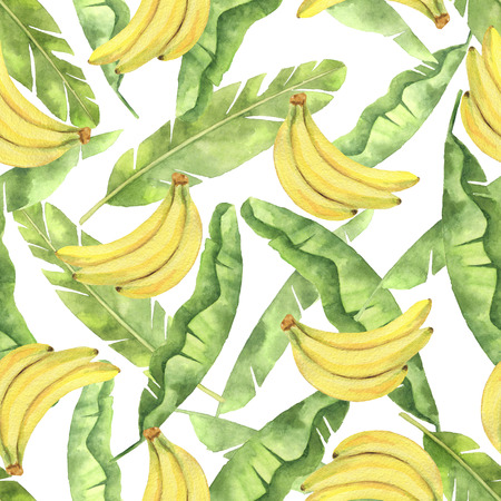Watercolor seamless pattern with tropical green leaves and yellow bananas isolated on white background. Stock Photo