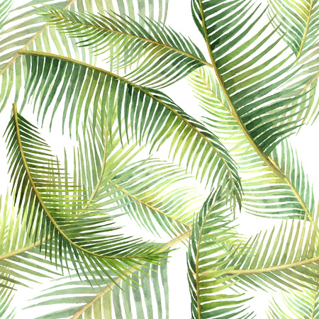 Watercolor seamless pattern with tropical leaves isolated on white background. Stok Fotoğraf
