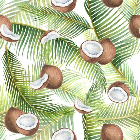 熱帯の緑の葉とココナッツの白い背景で隔離の水彩のシームレスなパターン。