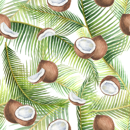 Watercolor seamless pattern with tropical green leaves and coconuts isolated on white background.
