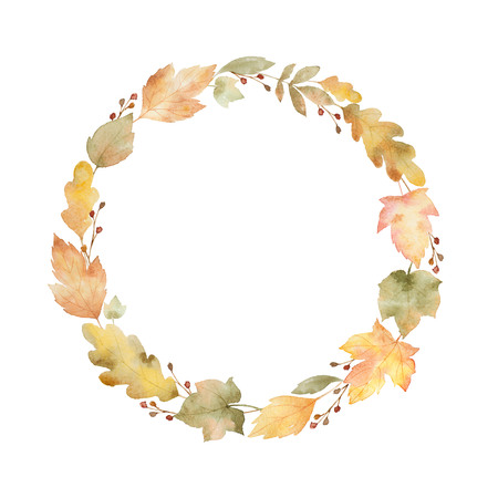 Watercolor round frame of leaves and branches isolated on white background. Stock Photo