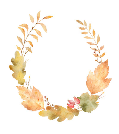 잎과 흰색 배경에 고립 된 분기의 수채화 헌화.