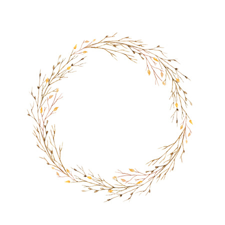 수채화 잎과 흰색 배경에 고립 된 분기의 라운드 프레임. 스톡 콘텐츠