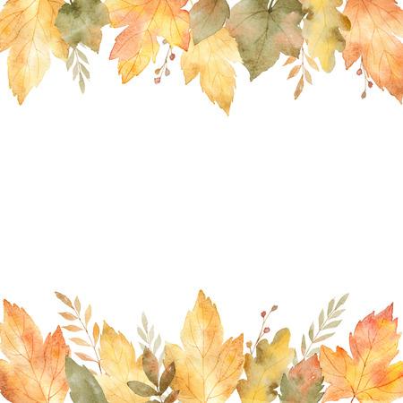잎과 흰색 배경에 고립 된 분기의 수채화 배너.