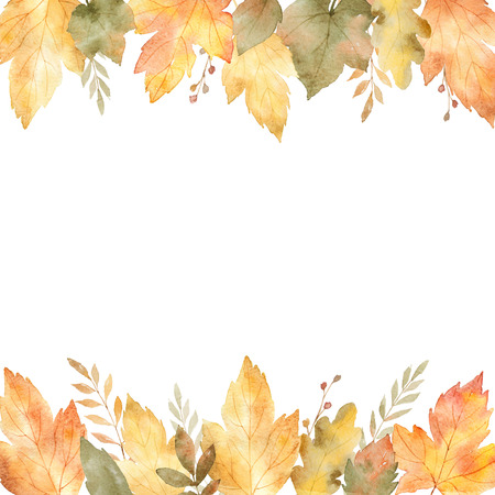 fall leaves: Watercolor banner of leaves and branches isolated on white background.