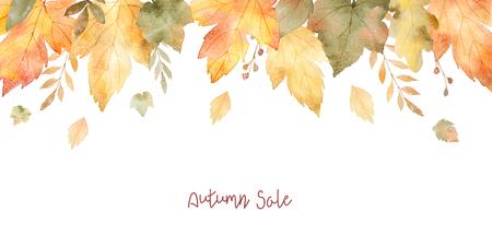 Aquarel verkoop banner van bladeren en takken geïsoleerd op een witte achtergrond. Stockfoto - 82809318