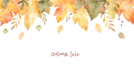 Watercolor sale banner of leaves and branches isolated on white background. 免版税图像