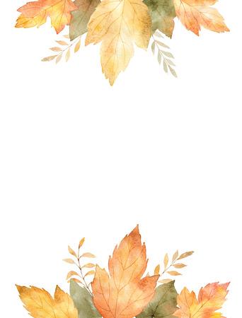 Acuarela pancarta de hojas y ramas aisladas sobre fondo blanco. Foto de archivo - 82793348