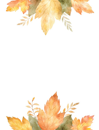 Watercolor banner of leaves and branches isolated on white background.