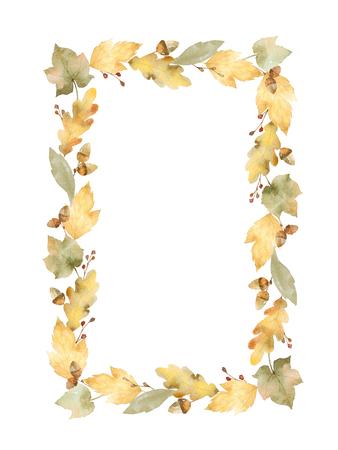 잎과 흰색 배경에 고립 된 분기의 수채화 사각형 프레임.