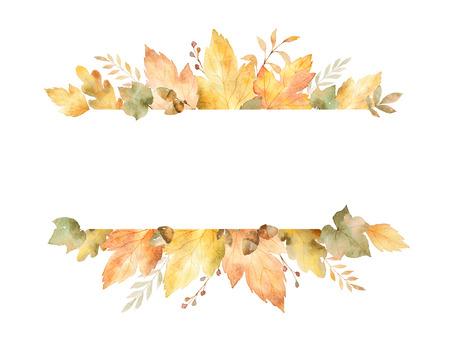 葉や枝は、白い背景で隔離の水彩のバナーです。グリーティング カード、結婚式の招待状、引用および装飾の秋のイラスト。