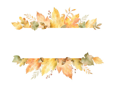 잎과 흰색 배경에 고립 된 분기의 수채화 배너. 인사말 카드, 결혼식 초대장, 견적 및 장식에 대 한가 그림.