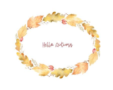 잎과 흰색 배경에 고립 된 분기의 수채화 타원형 프레임. 인사말 카드, 결혼식 초대장, 견적 및 장식에 대 한가 그림.