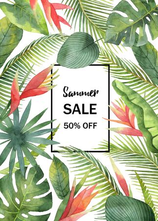 Aquarel verkoop banner tropische bladeren en takken geïsoleerd op een witte achtergrond.