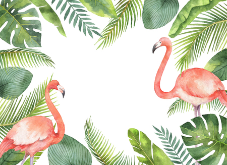 Watercolor card of tropical leaves and the pink Flamingo isolated on white background. Stok Fotoğraf