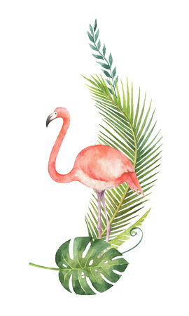 Watercolor card of tropical leaves and the pink Flamingo isolated on white background. Imagens
