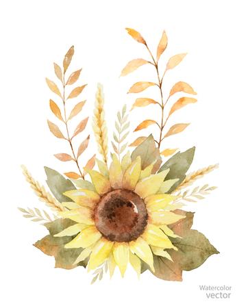 葉、枝、白い背景で隔離のヒマワリの水彩ベクトル花束。
