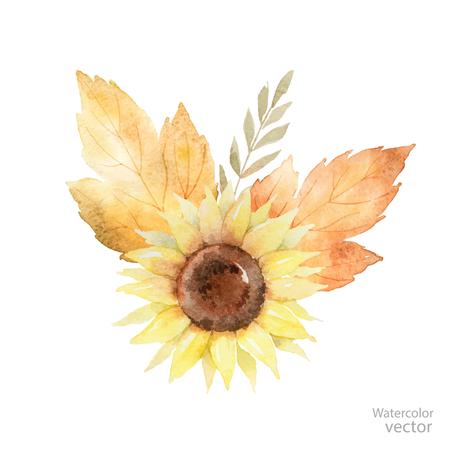 Waterverfboeket van bladeren, takken en zonnebloem op wit worden geïsoleerd dat. Herfst illustratie voor wenskaarten, huwelijksuitnodigingen en decoraties. Stock Illustratie