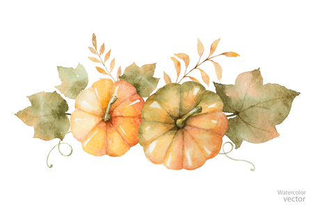 Watercolor vector autumn bouquet of leaves, branches and pumpkins isolated on white background. Çizim