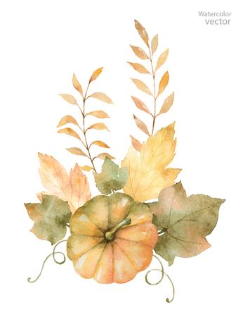 수채화 가을 나뭇잎, 분기 및 흰색 격리 된 호박 중 꽃다발. 디자인을위한 추수 감사절 그림입니다. 일러스트