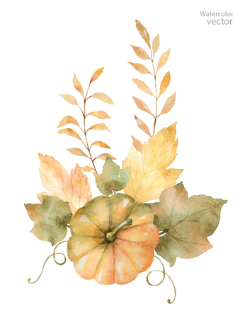 month: Watercolor autumn bouquet of leaves, branches and pumpkins isolated on white . Thanksgiving illustration for your design.