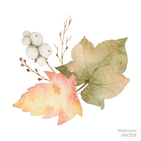 葉や枝は、白で隔離の水彩の花束。グリーティング カード、結婚式の招待状や装飾品の秋のイラスト。