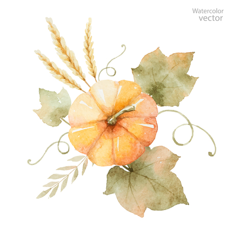 Watercolor autumn bouquet of leaves, branches and pumpkins isolated on white . Thanksgiving illustration for your design.