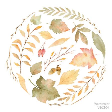 잎과 흰색으로 격리 지점의 수채화 카드. 인사말 카드, 결혼식 초대장 및 장식에 대 한가 그림.