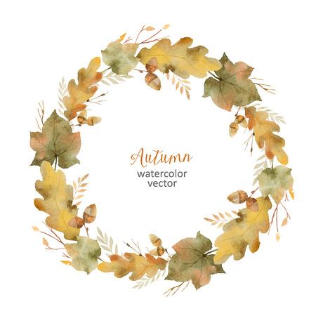 수채화 나뭇잎과 흰색으로 격리 지점의 라운드 프레임. 인사말 카드, 결혼식 초대장, 견적 및 장식에 대 한가 그림.