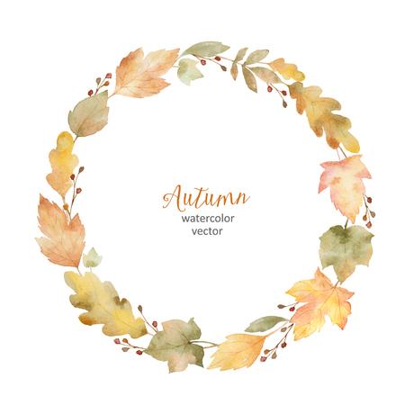 水彩ベクトルは丸い葉や枝は、白い背景で隔離のフレームです。