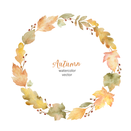 Watercolor vector round frame of leaves and branches isolated on white background.