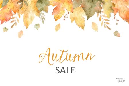 Aquarel herfst verkoop banner van bladeren en takken geïsoleerd op een witte achtergrond.