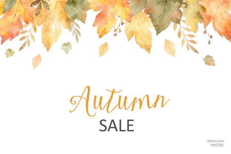 Watercolor autumn sale banner of leaves and branches isolated on white background.