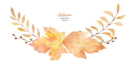 Watercolor vector wreath of leaves and branches isolated on white background. Ilustração