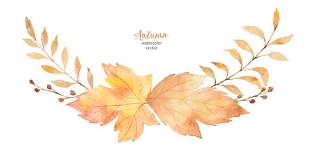 Waterverf vectordiekroon van bladeren en takken op witte achtergrond worden geïsoleerd.
