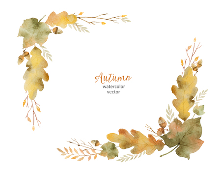 Watercolor vector wreath of leaves and branches isolated on white background. 矢量图像