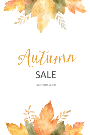 Watercolor autumn sale banner of leaves and branches isolated on white background. Vector illustration for of discount tags, greeting cards, quote and decorations.
