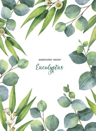 水彩ベクトル手描きのユーカリの葉と白い背景で隔離の枝緑花カード。日付またはデザインのグリーティング カード、結婚式の招待状、癒しのハー
