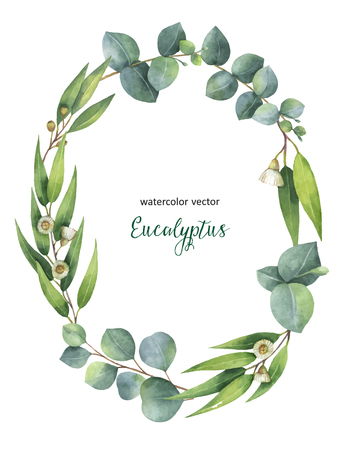 Watercolor vector hand painted oval wreath with green eucalyptus leaves and branches. Illustration for cards, wedding invitation, save the date or greeting design.