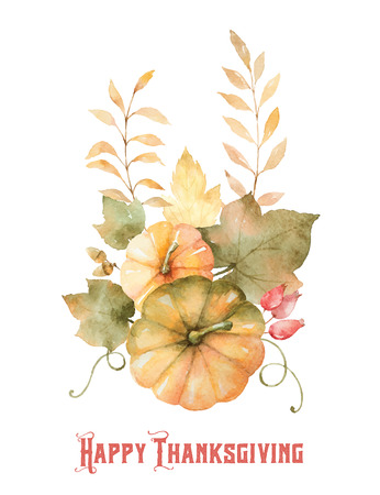 month: Watercolor vector autumn bouquet of leaves, branches and pumpkins isolated on white background. Illustration