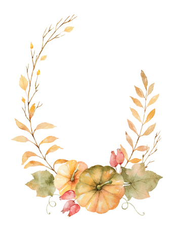 month: Watercolor vector autumn wreath of leaves, branches and pumpkins isolated on white background. Illustration