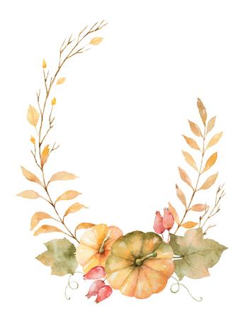 Waterverf vector herfstkrans van bladeren, takken en pompoenen geïsoleerd op een witte achtergrond. Stockfoto - 84740795