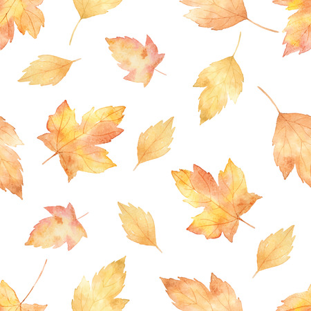Watercolor vector seamless pattern with leaves and branches isolated on white background.