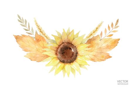 수채화 벡터 헌화는 나뭇잎과 흰색 배경에 고립 된 분기. 일러스트
